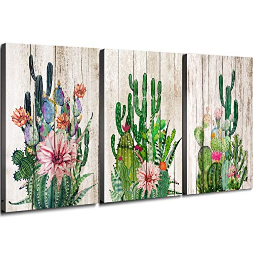 YOOOAHU Wall Decor for Bedroom Bathroom Boho Cactus Wall Art Home Decoration Watercolor Rustic Wood Green Tropical Desert Plant Canvas Pictures Kitchen Living Room Set of 3 Pieces 12×16""