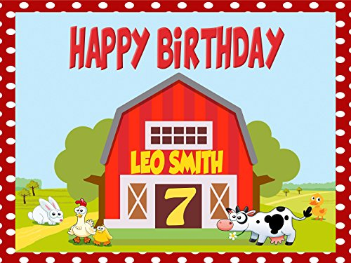 Custom Home Décor Farm Animals Birthday Poster for Kids - Size 24x36, 48x24, 48x36; Personalized barn Birthday, Cow, Chick, Barnyard Kids Birthday Banner Wall Décor; Handmade Party Supply Poster