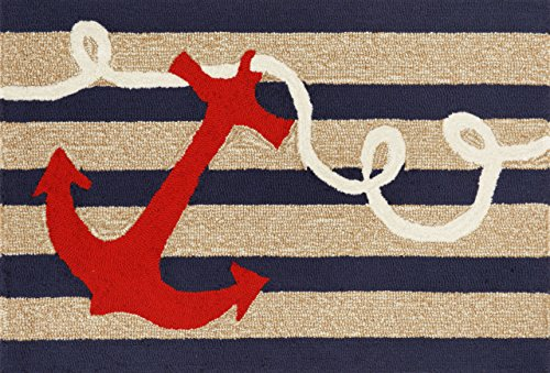 Liora Manne FTP23140033 Front Porch Whimsy Coastal Ship Ahoy Anchor Nautical Compass Sailor Indoor/Outdoor Front Door Mat Rug 2' X 3' Navy and Ivory ()