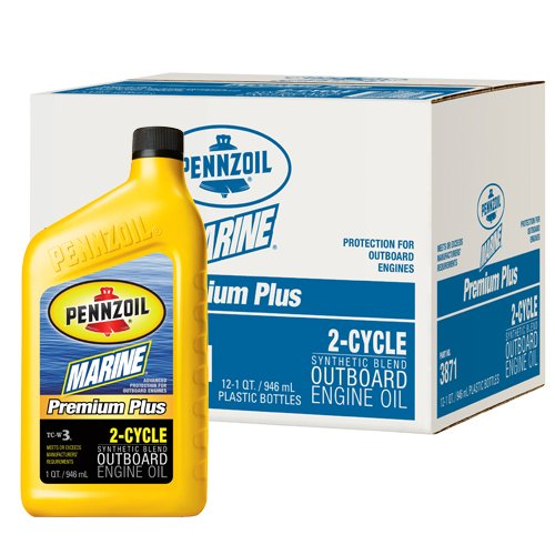 Pennzoil 3871-12PK Marine Premium Plus Outboard 2 Cycle (TC-W3)  1 Quart  (Pack of 12)