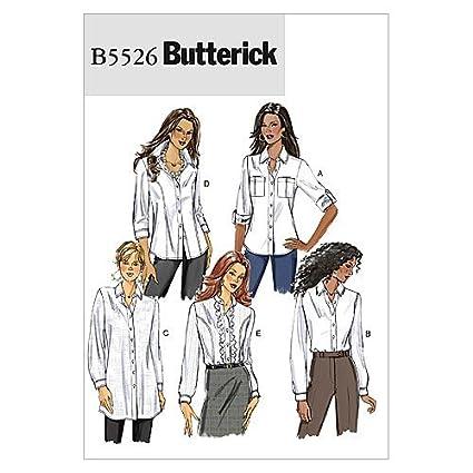 official photos 67b0f d5c9f Butterick Patterns B5526 - Cartamodelli per Camicie da Donna, Confezione da  1, Taglie: 40-48, Confezione da 1, Colore: Bianco