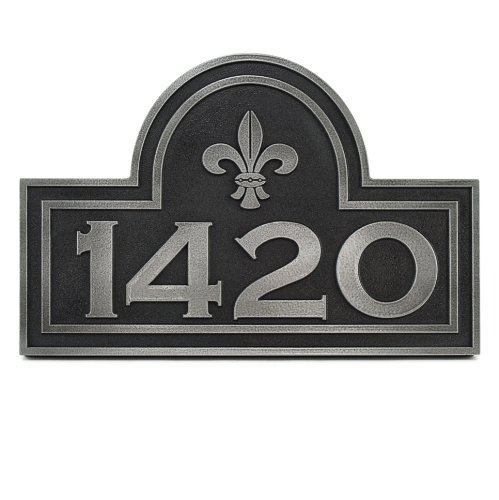 Fleur De Lis Arch Address Plaque - 15x10 - Raised Pewter Metal Coated Sign by Atlas Signs and Plaques