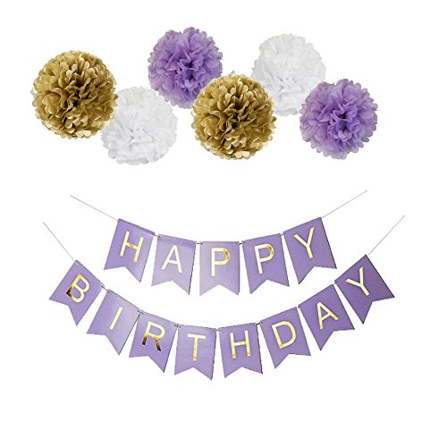 Mefuny Purple Happy Birthday Banner, 10 inch Tissue Paper Pom Poms Flowers for Party Decoration Favor