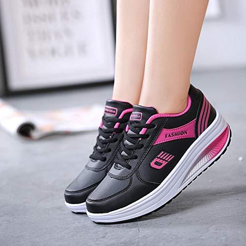 Zapatos Inferior Mujer Zapatillas Estudiantes Corren Que Suave Logobeing Comodos Negro Oscilantes Parte De La Sneakers Tacon Deporte Los Running qHwSd0R