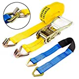 NK 2 Inch x 27 Foot Ratchet Strap Tie Down with Double J-Hooks and Axle Delta Ring Strap 2 Inch x 36 Inch
