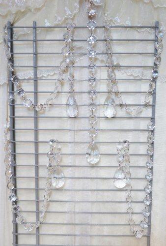 Sweet Home Deco 5 Pieces Clear Faux Crystal Beads Chandelier Chain Garland Wedding Strand w/ Teardrop Crystal Pendant (20'' Length Each (Crystal Silk Chandelier)