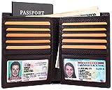 Multi-Purpose Travel Wallet Credit Card Holder Passport Cover 2 ID Window Genuine Leather RFID Blocking - Coffee