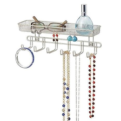 mDesign Práctico organizador de joyas para pared– Con 6 ganchos y 1 compartimento - 27,9 cm - Mueble joyero para anillos, gafas, collares y pendientes ...