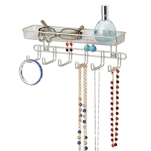 mDesign Fashion Closet Wall Mount Metal Jewelry Accessory Storage Organizer Shelf Rack with 6 Hooks - Holder for Rings, Earrings, Bangles, Bracelets, Necklaces, Eye and Sun Glasses, Wallets - Satin