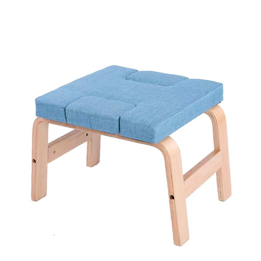 Hazjje-zatr061 Multifunctional Inverted Chair Yoga Auxiliary Chair Home Fitness Inverted Stool Wooden Suitable for Men and Women to Meditate, Abdomen, Meditation Chair (Color : Blue) by Mianbao015