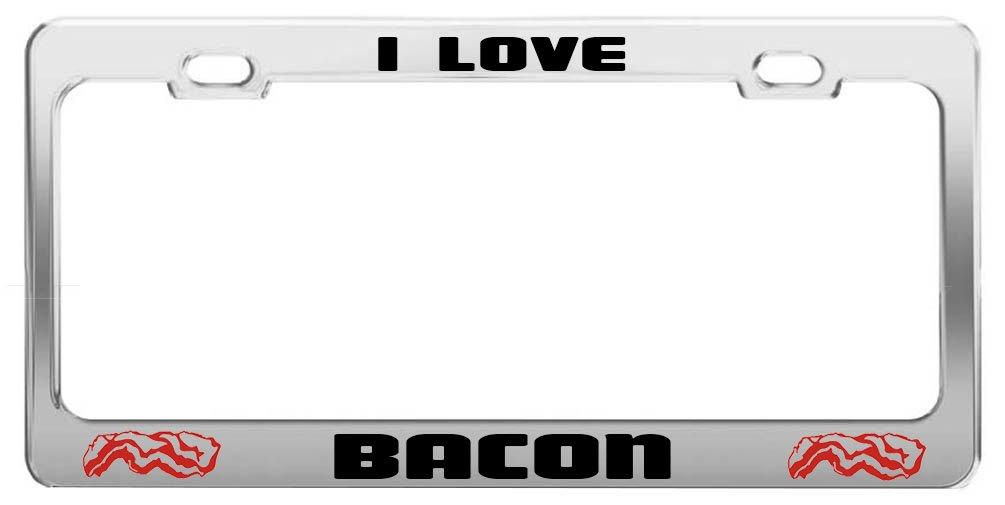I Luv Bacon Metal License Plate