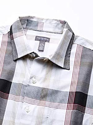 Van Heusen Men's Big and Tall Air Seersucker Short Sleeve Button Down Poly Rayon Plaid Shirt
