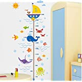 Height Measurement Growth Chart Tree Cute Sea dolphins whales Wall Vinly Decal Decor Sticker Removable Super for Nursery Playroom Girls and Boys Children's Bedroom