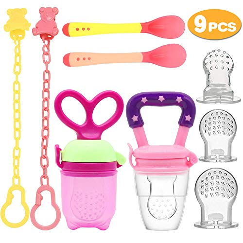 UniBetter Baby Food Feeder Pacifier 2 PCs Pacifier Clips 2 PCs Baby Feeding Spoons 3 PCs Replacement Silicone Pouches Baby Fruit Teething Toys for Toddlers Infant (Pink Set)