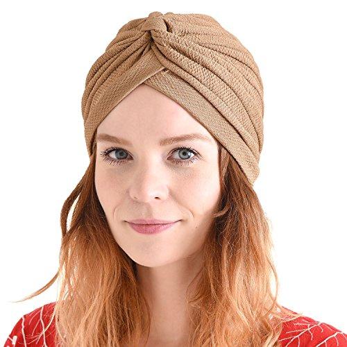 CHARM Fortune Teller Fashion Turban for Women - Arabian Boho Twist Wrap Turban, Texture Festival Hats, Indian Aladdin Costume Boho Beige