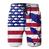 Men USA Flag Fish Quick Dry Beach Pant