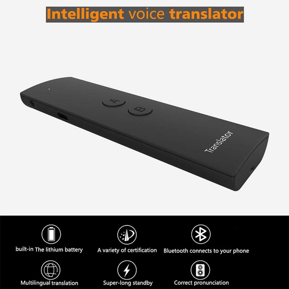 Volwco Translator de langue intelligent en temps r/éel avec deux voies pour la communication vocale et le transfert vocal 41 langues pour lapprentissage et les voyages blanc