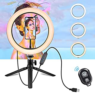 """LED Ring Light - 10"""" Selfie Ring Light with Tripod Stand & Cell Phone Holder for Live Stream/Makeup, Dimmable Led Camera Beuty Ringlight for YouTube Video/Photography Compatible for iPhone and Android"""