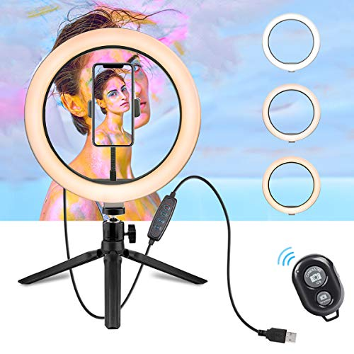 LED Ring Light - 10 Selfie Ring Light with Tripod Stand & Cell Phone Holder for Live Stream/Makeup, Dimmable Led Camera Beuty Ringlight for YouTube Video/Photography Compatible for iPhone and Android