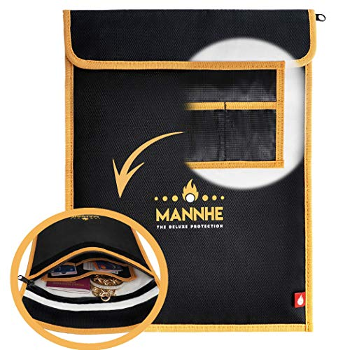 Mannhe Fireproof Fire Resistant Document Bag Pouch - 14.6x11 Double Layer Fiberglass Fire Water Dust Smoke-Resistant Safe Bag Security Storage for Documents, Passport, Photos, Money