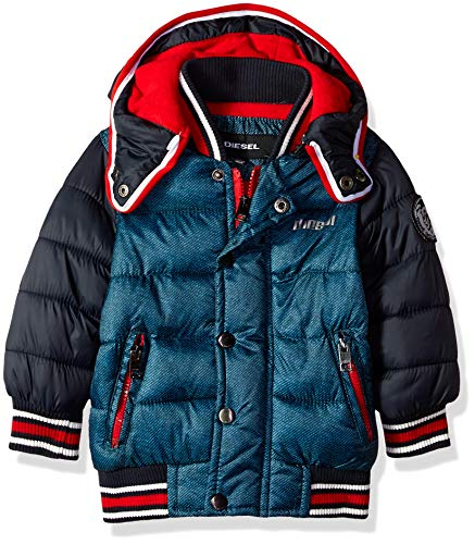 Diesel Boys' Toddler Hooded Bubble Down Jacket, Indigo Denim, 2T ()