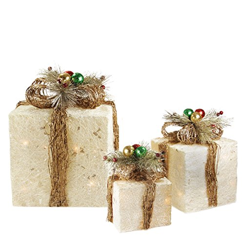 of 3 sparkling champagne sisal gift boxes - Lighted Gift Boxes Christmas Decorations
