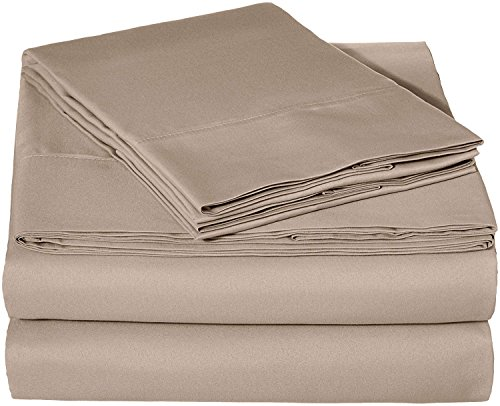 TheSignature Split Sheet Set 7-Piece Taupe Solid Split California King Size 9