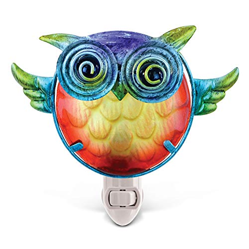 3D Night Light for Kids, Baby Owl Night Light Animal Shaped Nursery Night Light Puzzled Colorful Luxury Elegant Modern Stylish Durable Blue Yellow Orange 7.5 Inch, Glass Metal