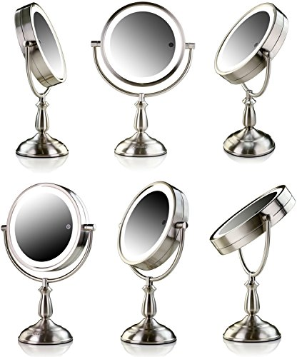 Ovente 7.5'' Lighted Tabletop Mirror, SmartTouch Cool, Warm, Daylight LED Tones (1X5X, Brushed) by Ovente (Image #6)