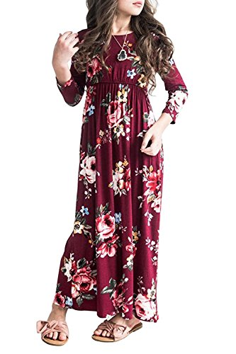 Syktkmx Girls Dresses Casual Princess Floral Holiday 3/52 Sleeve Pocket Maxi Dress