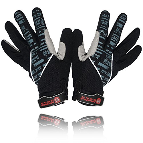 iteX MTB Cycling Gloves for Men - Full Finger Gel Padded Shockproof Touch Screen Bike Gloves for Mountain Bike Cycling (Black, X-Large) (Neoprene Full Finger)