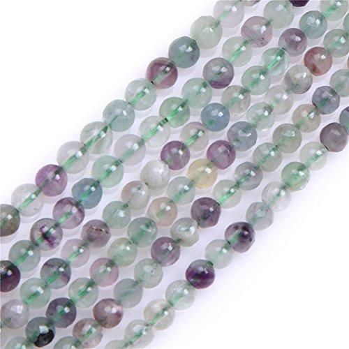 - 4mm Round Gemstone Mixed Fluorite Beads Strand 15 Inches Jewelry Making Beads