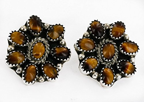 $500 Retail Tag Authentic Handmade Silver Navajo Natural Tigers Eye Clip Native American (Clip Tigers Eye Earrings)
