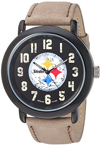 Game Time Men's 'Throwback' Quartz Metal and Leather Casual Watch, Color:Beige (Model: NFL-TBK-Pit)