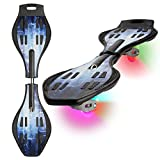XinoSports Deluxe Caster Board with Illuminating Wheels for More Excitement, Fun and Visibility, Awesome Design, Durable Twistboard, 60-Day!