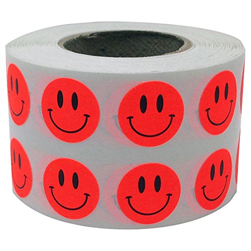 Mosichi 1000Pcs/1 Roll Circle Smiley Face Self-Adhesive Label Sticker School Supplies Fluorescent Red#