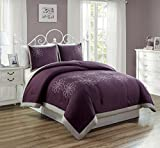 Purple Bed in a Bag King 3 Piece Purple/Grey / Gray Embroidery Bed in A Bag Down Alternative Comforter Set (California) Cal King Size Bedding. Perfect for Any Bed Room or Guest Room