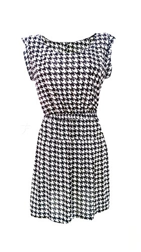 Mini Women Crew Houndstooth White Coolred Tunic Neck Capshoulder Dresses TYYSg