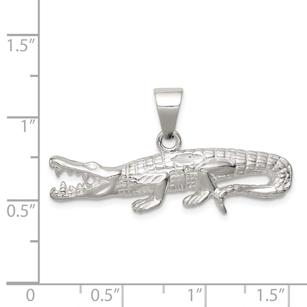 Solid 925 Sterling Silver Polished /& Textured Crocodile Pendant