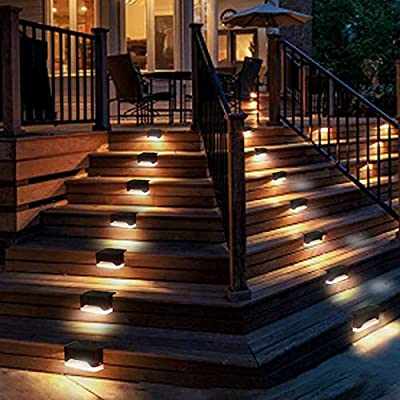 Solar Step Lights Outdoor Waterproof LED Solar Stairs Lights for Deck Patio Fence Walkways - Auto On/Off 4 Pack Warm Light