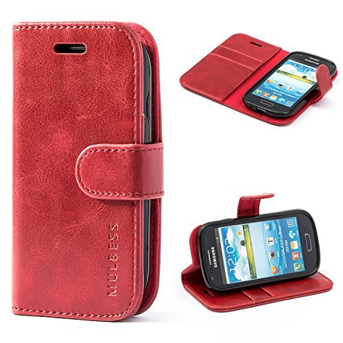 Mulbess Galaxy S3 Mini Protective Cover, Magnetic Closure RFID Blocking Luxury Flip Folio Leather Wallet Phone Case with Card Slots and Kickstand for Samsung Galaxy S3 Mini, Wine Red