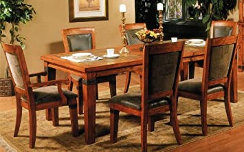Amazoncom 7pcs Formal Dining Table and Chairs Set with Slate