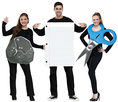 Rock Paper Scissors Costume Set - Standard - Chest Size 33-45 (Halloween Costumes 3 People)