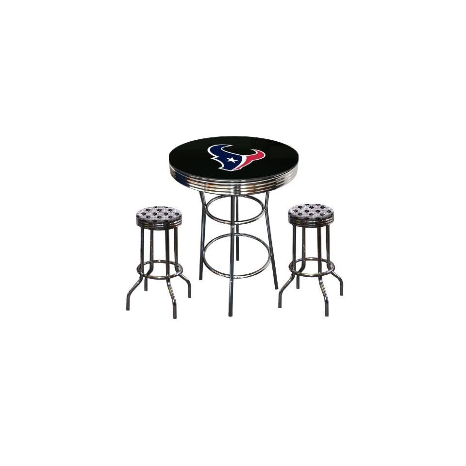 Houston Texans Logo Themed Glass Top Chrome Bar Pub Table Set with 2 Swivel Bar Stools   Home Bars