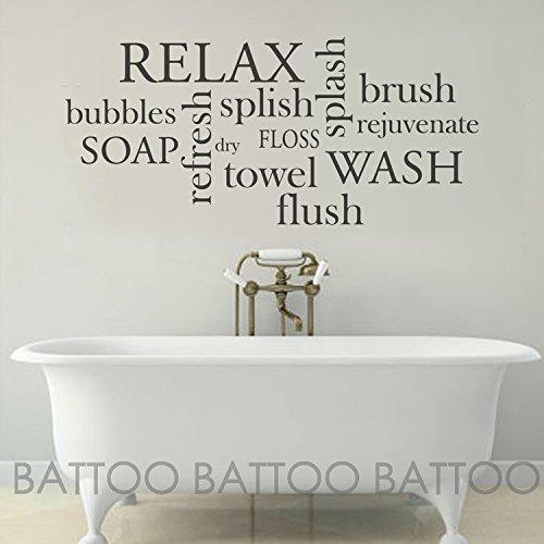 BATTOO Bathroom Wall Decor Bathroom Wall Decal - Bathroom Rules- Wash, Brush, Floss, Flush - Bathroom Sign Bathroom Wall Art Stickers Vinyl Lettering(Black, 40
