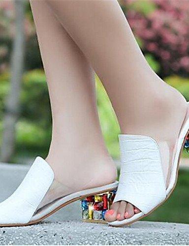 ShangYi Sandaletten für Damen Damenschuhe - Sandalen - Kleid - Kunstleder - Blockabsatz - Zehenfrei - Weiß White