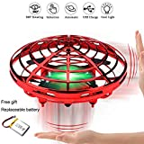 VIEE [Updated] Hand Operated Drone for Kids and Adults, UFO Flying Ball Drone Toys Mini Flying Ball Drone, Hand Controlled Helicopter Ball with 360°Rotating and Shinning LED Lights. (Red)