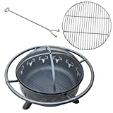 38-Inch Round Fire Pit Fire Bowl with Antler Design for Outdoor Use