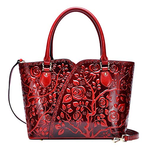 PIJUSHI Designer Handbags For Women Floral Purses Top Handle Satchel Handbags (22328 red)