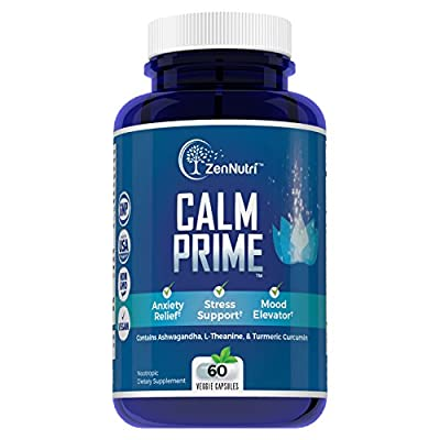Calm Support, Anti Anxiety, Stress Relief, Mood Enhancer Supplement - Natural Vegan Formula – Effective Calming Ingredients - Magnesium, Ashwagandha, L-Theanine, Turmeric Curcumin and More, 60 count